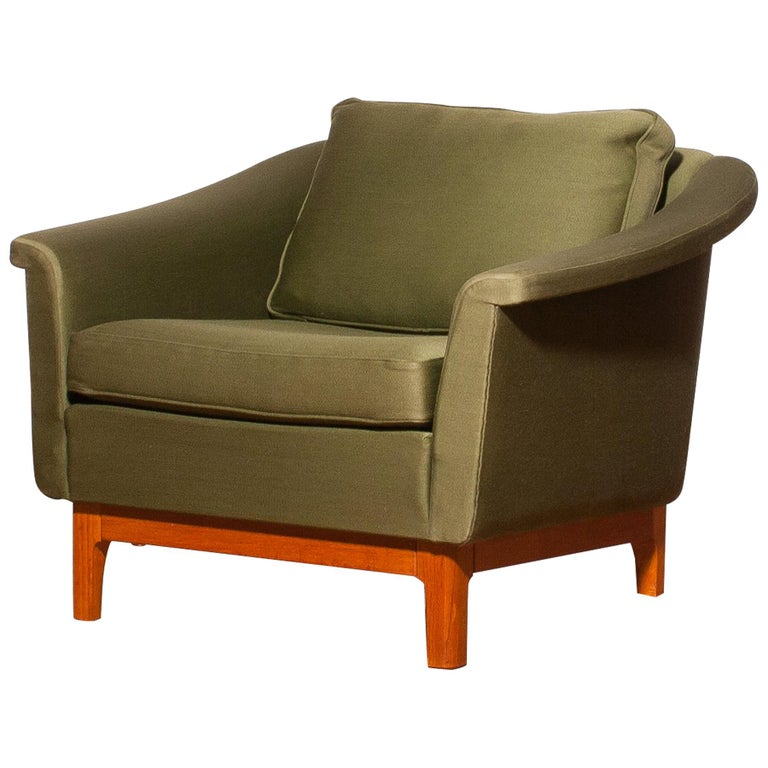 1960s, Green Lounge Chair by Folke Ohlsson for DUX