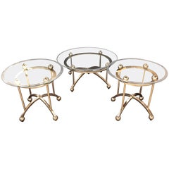 Three-Piece Modern Art Deco Style Set of End Tables and a Coffee Table