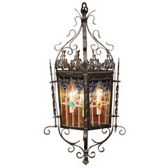 19th Century, French Napoleon III Iron Four-Light Lantern with Stained Glass