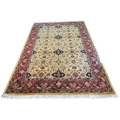 Large Vintage Red and Gold Persian Tabriz Area Rug