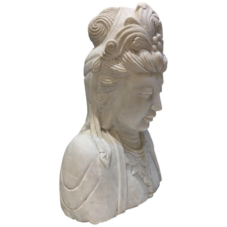 Antique Marble Goddess Guanyin Lifesize Hand-Carved Carrara Marble Bust