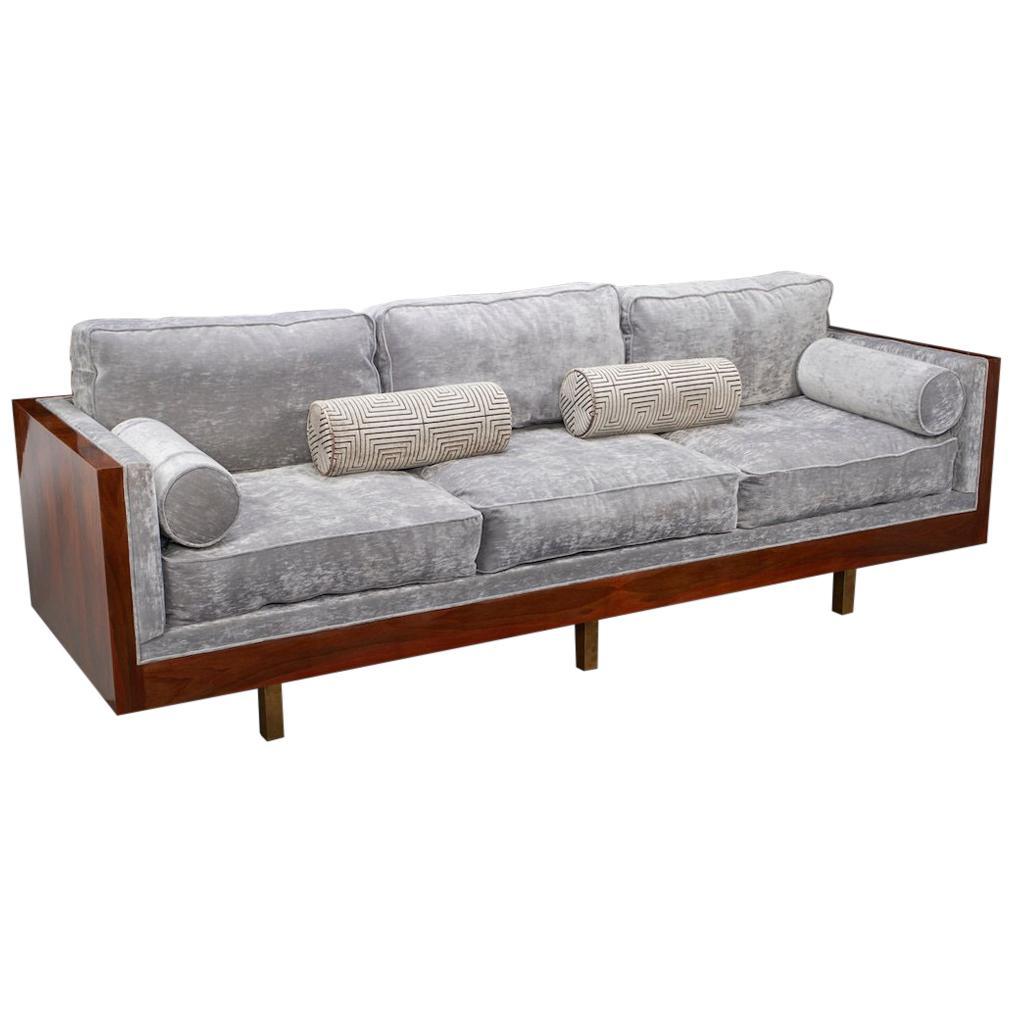 Italian Midcentury Sofa In Walnut For Sale