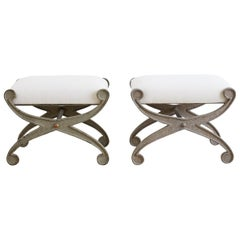 Pair of Curule Iron Benches or Stools