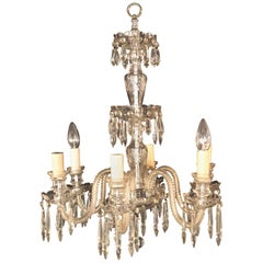 Venetian Six-Light Cut Crystal Chandelier, circa 1920