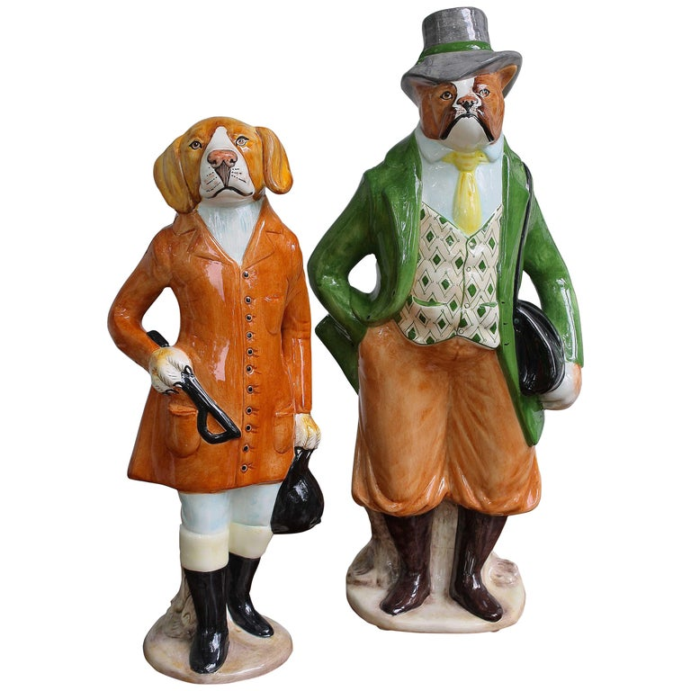 Ceramic Equestrian Canine Couple For Sale