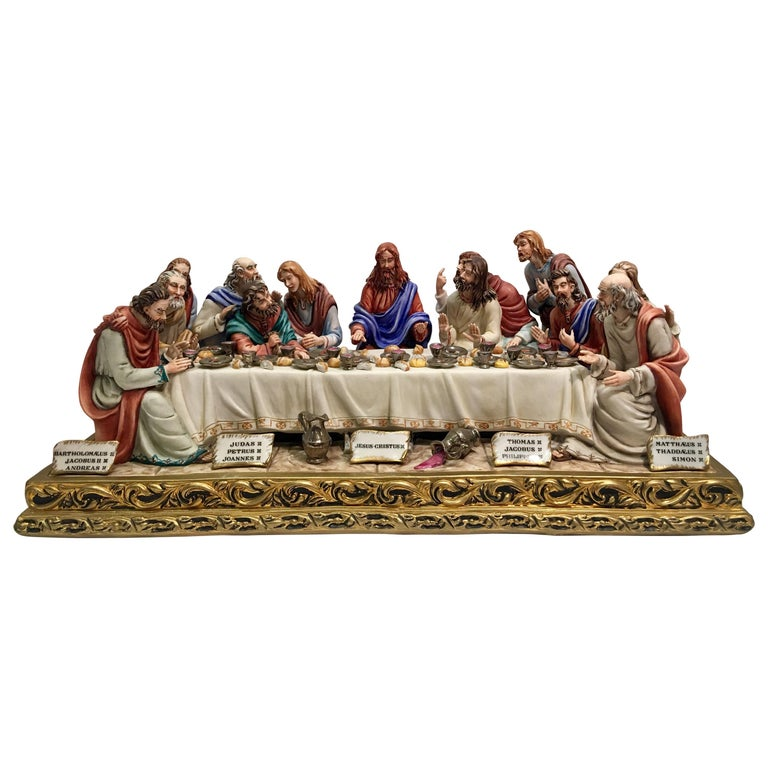 """Fine Italian Capodimonte """"The Last Supper"""" Museum Quality Porcelain by Cortese For Sale"""