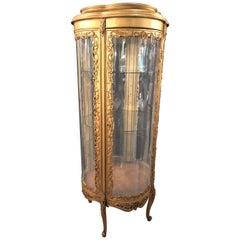 Louis XV Style Circular Giltwood Lighted Curio Vitrine Showcase