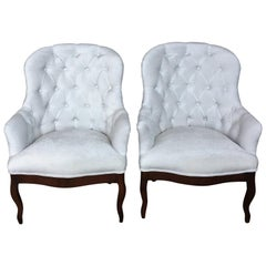 19th Pair of Louis XV Bergère Armchairs in White Velvet