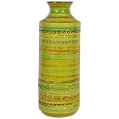 Aldo Londi Bitossi for Rosenthal Netter Incised Glazed Spring Green Ceramic Vase