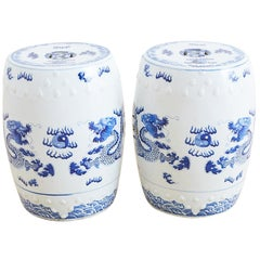 Chinese Blue and White Garden Stool Drink Tables