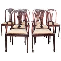 Late 18th Century Mahogany Hepplewhite Style Dining Chairs, Set of 8