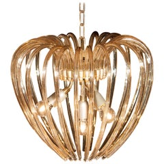 Italy 1960s Partly Gilded and Brass and Crystal Venini Murano Pendant Chandelier