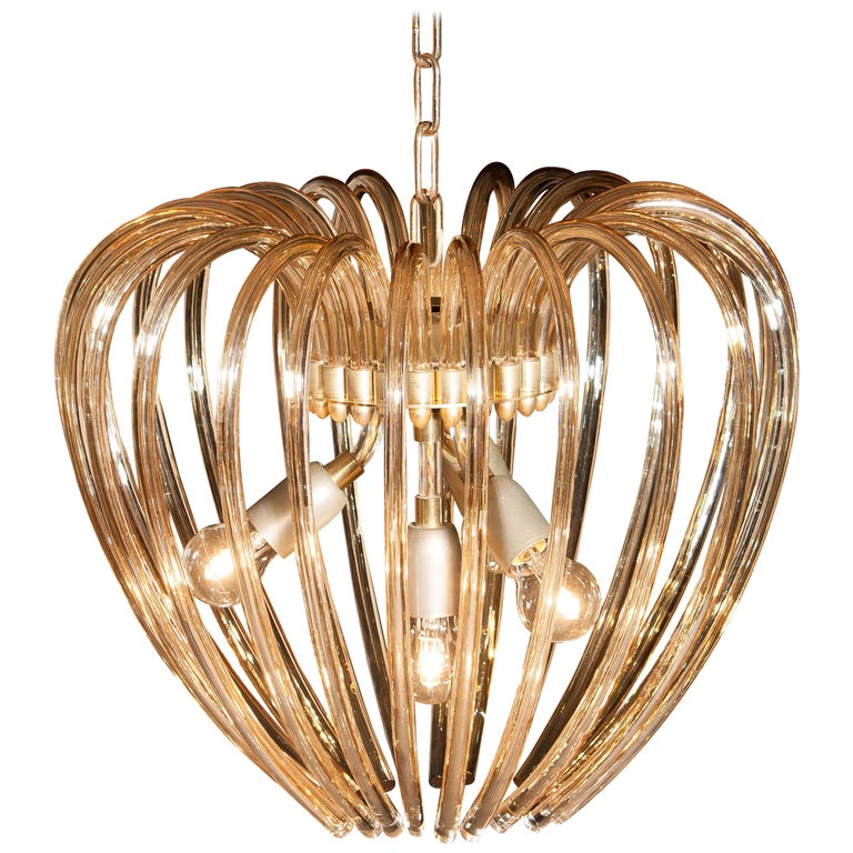 Italy 1960s Partly Gilded and Brass and Crystal Venini Murano Pendant Chandelier For Sale
