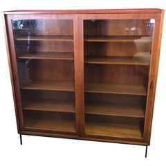 Large Danish Modern Teak Bookcase with Sliding Glass Doors on Iron Base