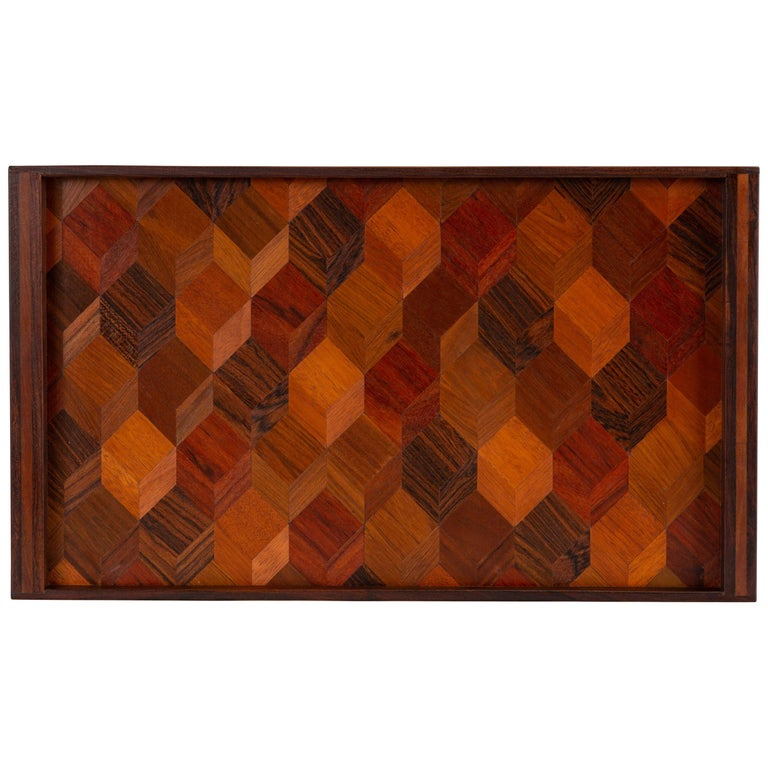 Trompe L'oeil Rosewood Tray by Don Shoemaker for Señal
