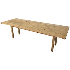 20th Century Midcentury Large Pine Drop-Leaf Country Farm Table with Two Leaves