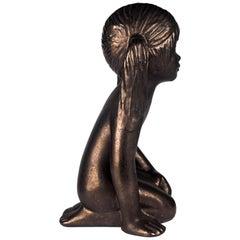 Child Ceramic Sculpture by Perignem Amphora, Gold, Belgium, 1970s