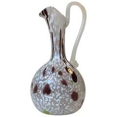 Murano Handled Pulegoso Glass Vase, Italy, 1950s