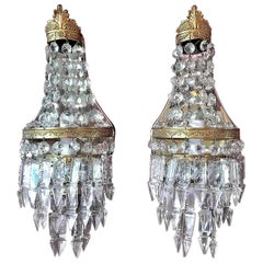 Pair of 19th Century French Crystal Louis XVI Style Wall Lights
