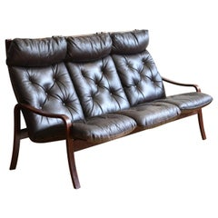 Danish Mid-Century Modern Leather and Wood Sofa