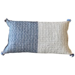 Handwoven Wool Throw Small Pillow Made with Natural Indigo, in Stock