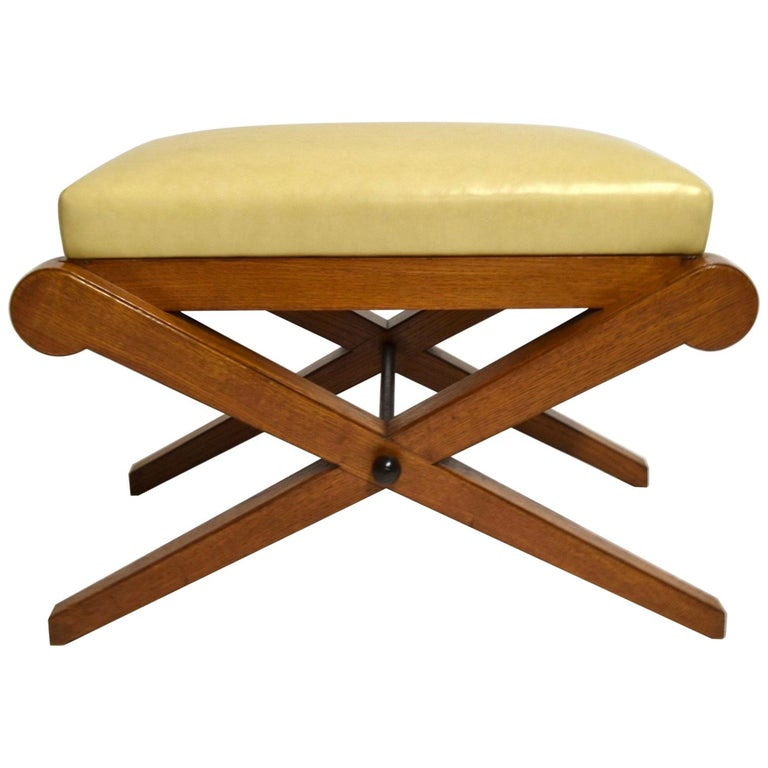 Solid Oak and Leather Vanity Bench or Footstool, France, circa 1940