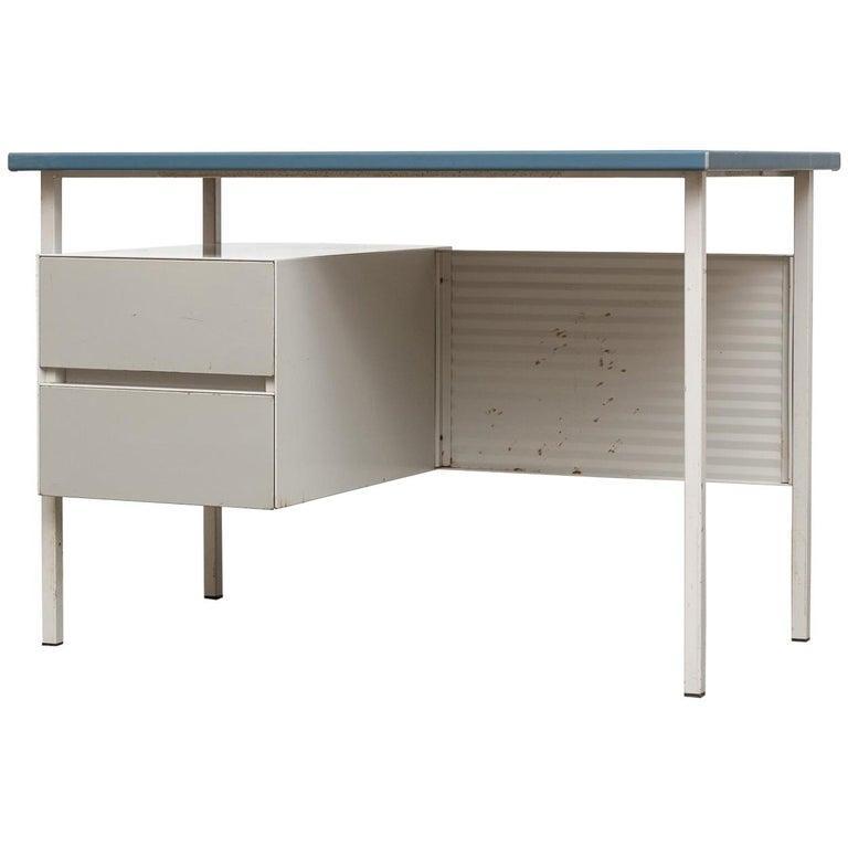 Gispen 3803 Industrial Desk with Blue Vinyl Top