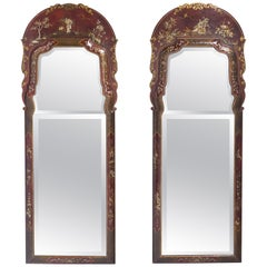 Pair of English Queen Anne Style Japanned Mirrors