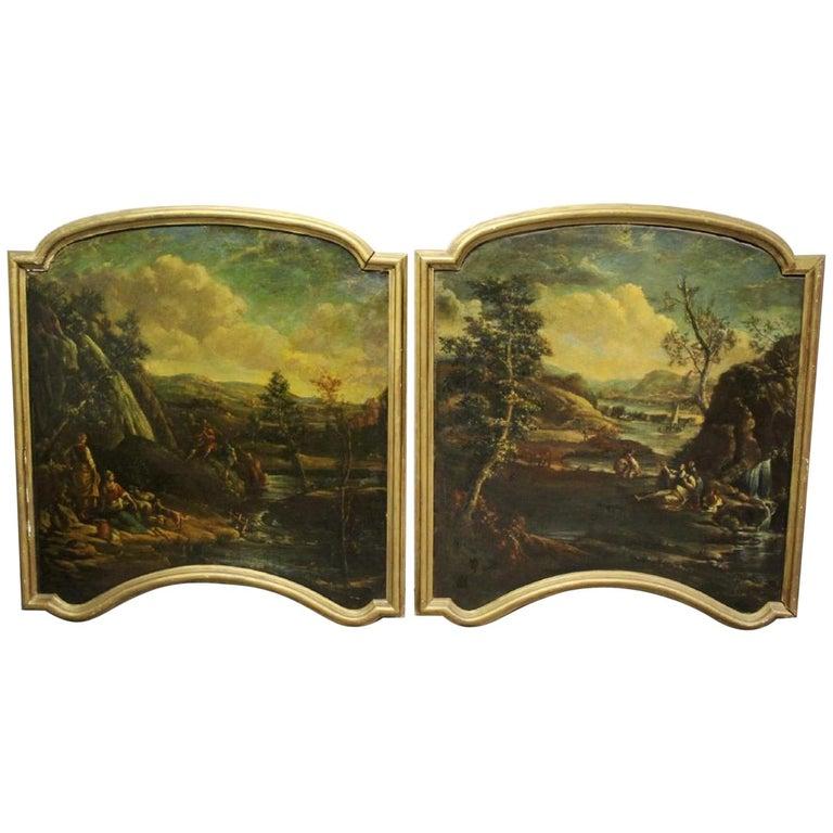 Pair of 18th Century Italian School Oil on Canvas Paintings