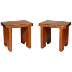 Pair of Handcrafted California Modernist Stools