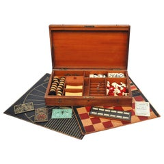 19th Century Timber Games Box with Assorted Games