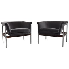 Pair of Geoffrey Harcourt Grey Velvet Lounge Chairs