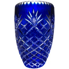 Bohemian Cobalt cut to Clear Vase