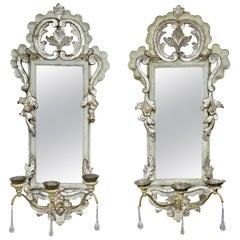 Pair of Italian Rococo Gray Painted and Silver Gilt Girandole Mirrors