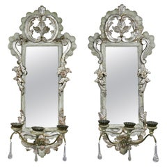 Pair of Italian Rococo Gray Painted and Silver Gilt Mirrored Wall Lights