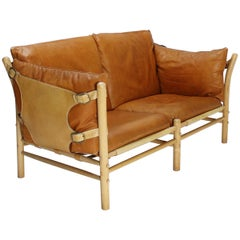 Arne Norell Two Seater Sofa in Brown Leather Model Ilona