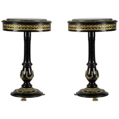 Rounded Gueridon Black Wood and Golden Bronzes Friezes Tables, France, 1950s