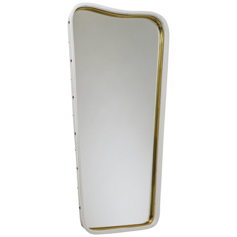 Brass and Pierced Mirror, 1950s For Sale