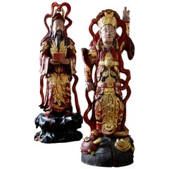 Vietnam 19th Century, Important Pairs of Statues of Dignitaries Lacquered Wood