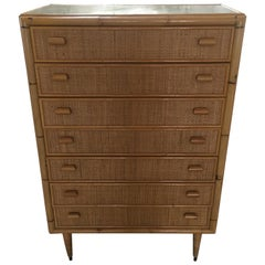 Mid-Century Modern Italian Bamboo 'Settimino' or Chest of Drawers from 1970s