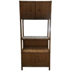 Mid-Century Modern Italian Bamboo Etagere with Shutters and Shelf from 1970s