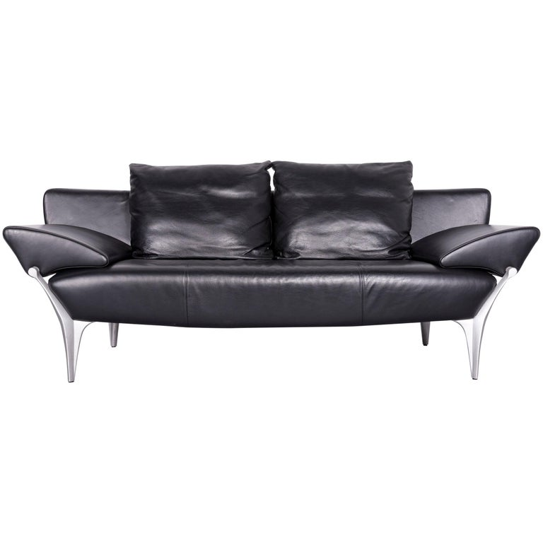 Rolf Benz Plura Designer Sofa Leather Black Relax Function Couch ...