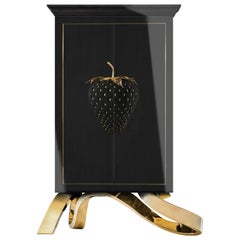 Contemporary Nirvana Drink Cabinet, Black, White, Brass, Copper, High Gloss