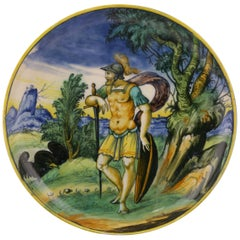Venezia Maiolica Istoriato Footed Dish with a Soldier, circa 1550-1960