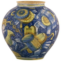 Venezia Vase-Bowl Maiolica Fully Decorated with Military Trophies, circa 1560