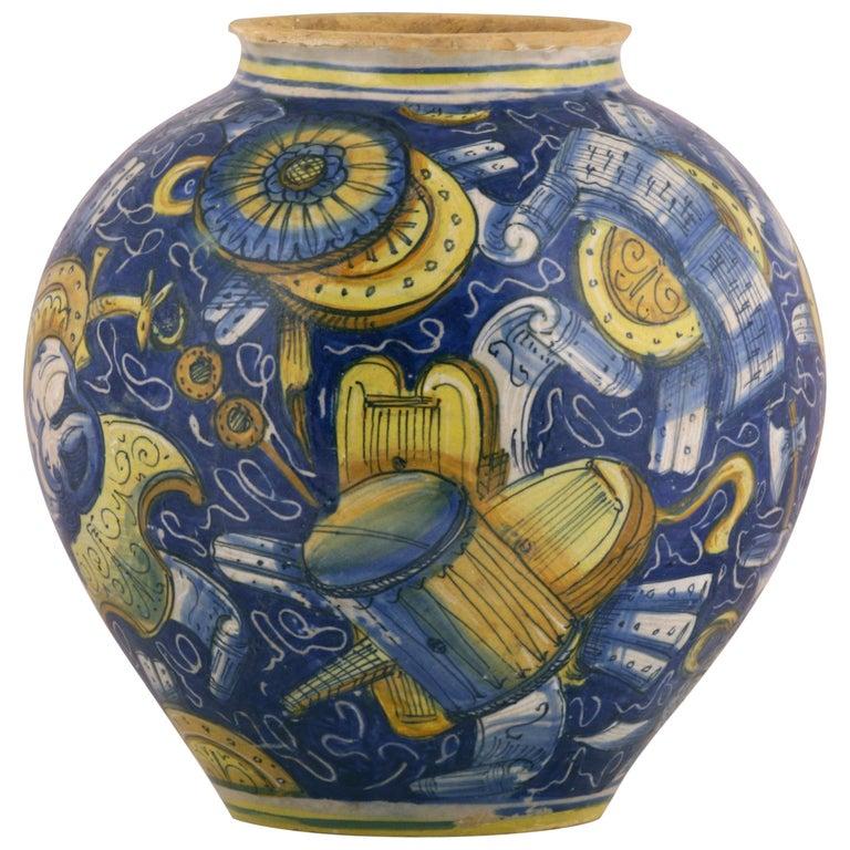Venezia Vase-Bowl Maiolica Fully Decorated with Military Trophies, circa 1560