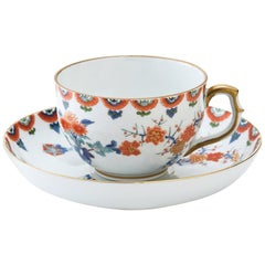 Contemporary Imari Gilded Japanese Porcelain Cup and Saucer by Kisen Kiln