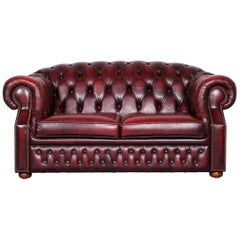 Chesterfield Centurion Leather Sofa Red Two-Seat Vintage Couch