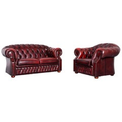 Chesterfield Centurion Leather Sofa Armchair Set Red Two-Seat Vintage Couch