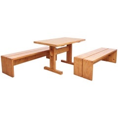 Charlotte Perriand Set of Table and Two Benches for Les Arcs, circa 1960